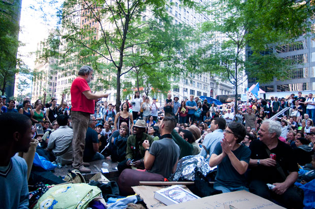 Slavoj Zizek speaks before Occupy Wall Street protesters Oct. 9, 2011. (Photo courtesy of Sarahana, The Parallax)